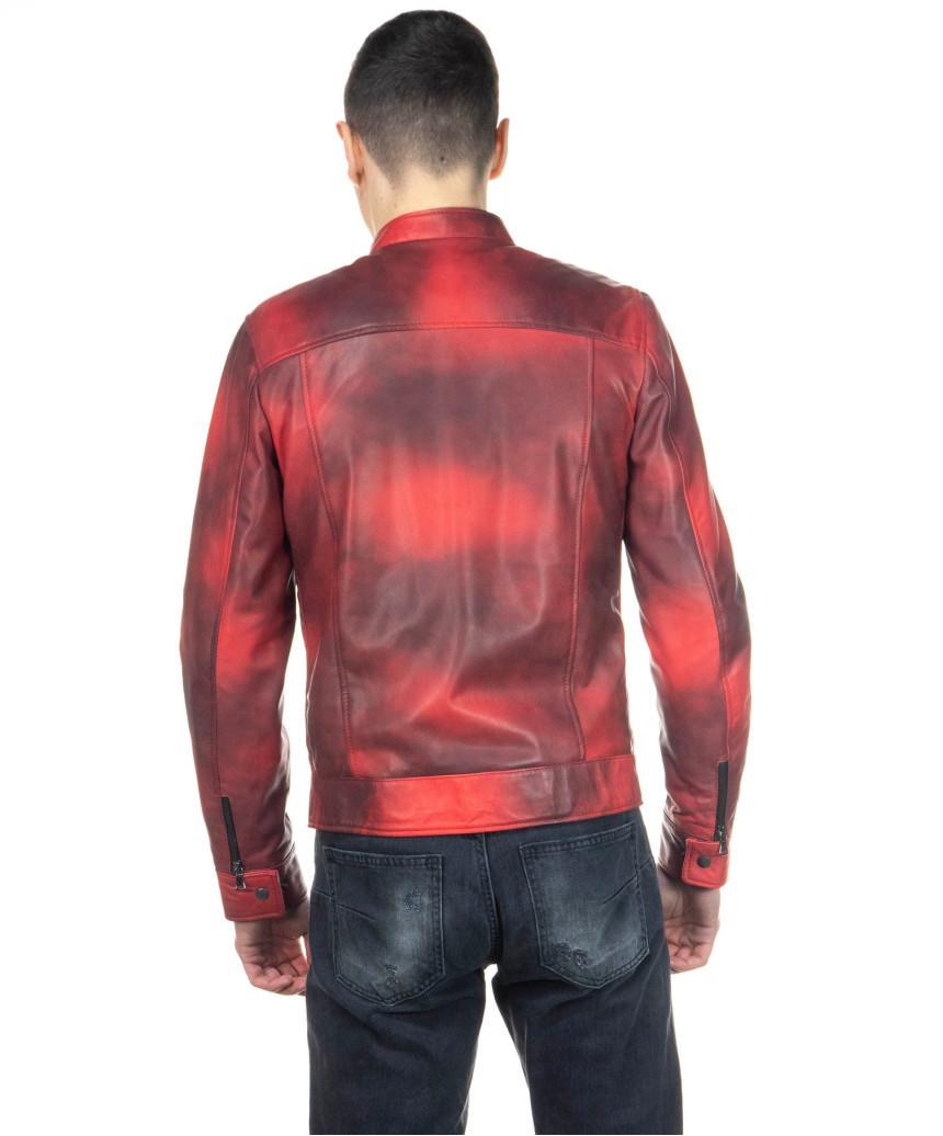 Chiodo Uomo - Men Jacket of Genuine Aged Blue Leather - 4