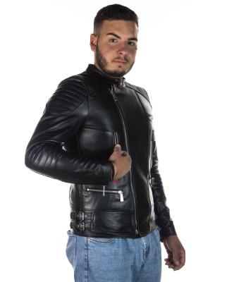Schott Men - Jacket of Genuine Soft Black Leather - 5