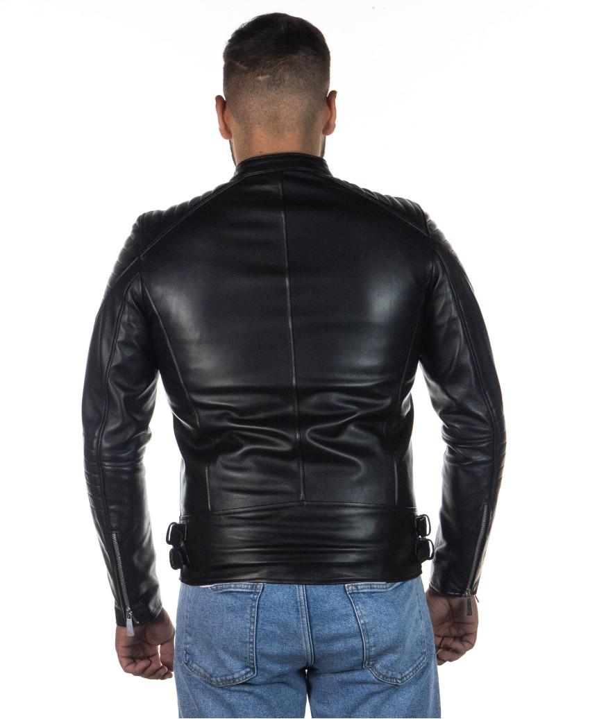 Schott Men - Jacket of Genuine Soft Black Leather - 6
