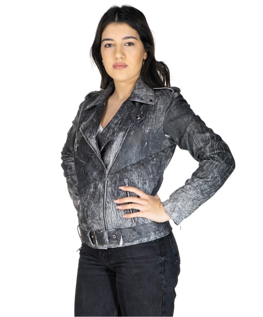Florida - Women Jacket of Genuine Aged Bordeaux Leather - 8