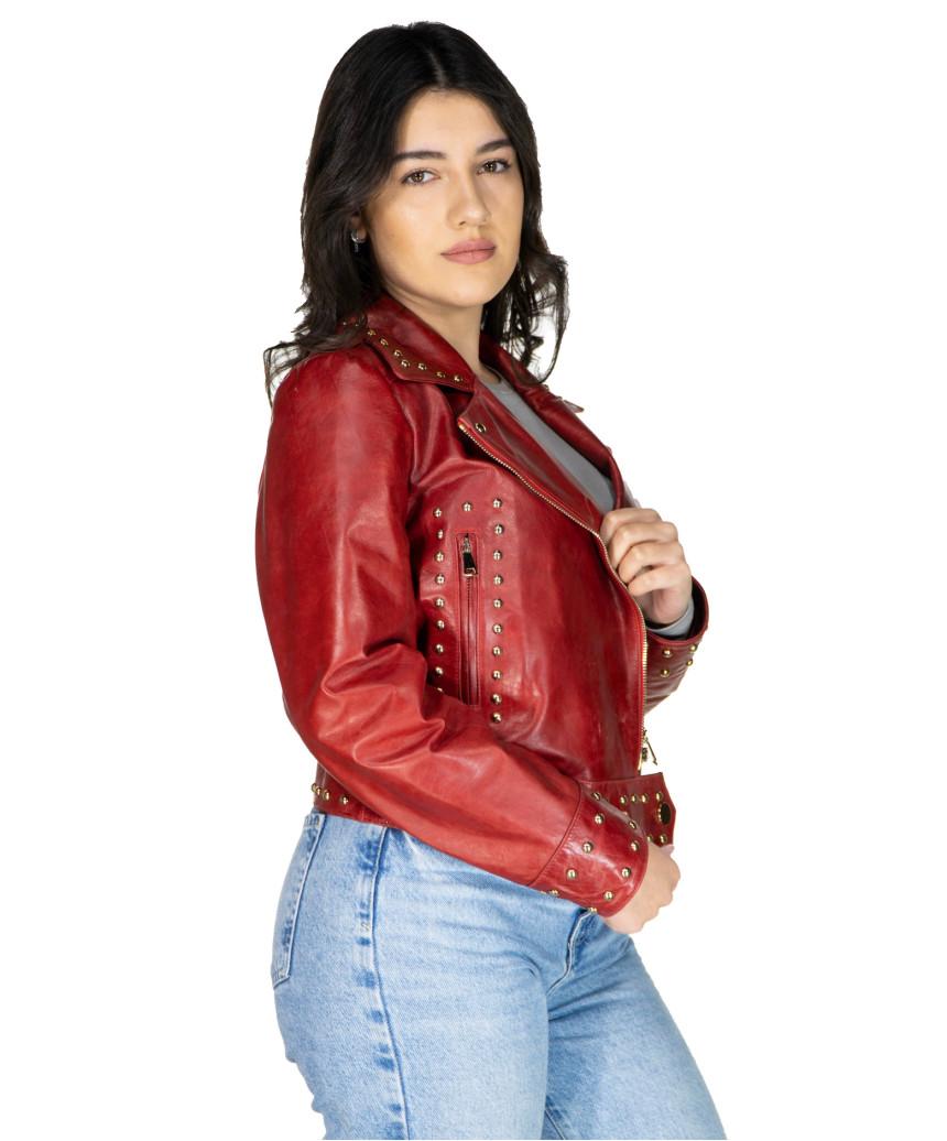 Chiodo Donna - Giacca in Vera Pelle con Cintura colore Nero Morbida - 5