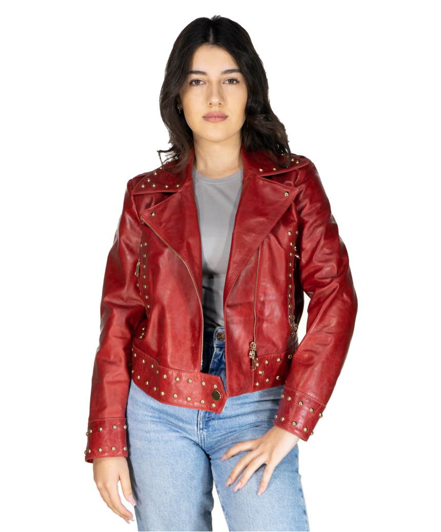 Chiodo Donna - Giacca in Vera Pelle con Cintura colore Nero Morbida - 6