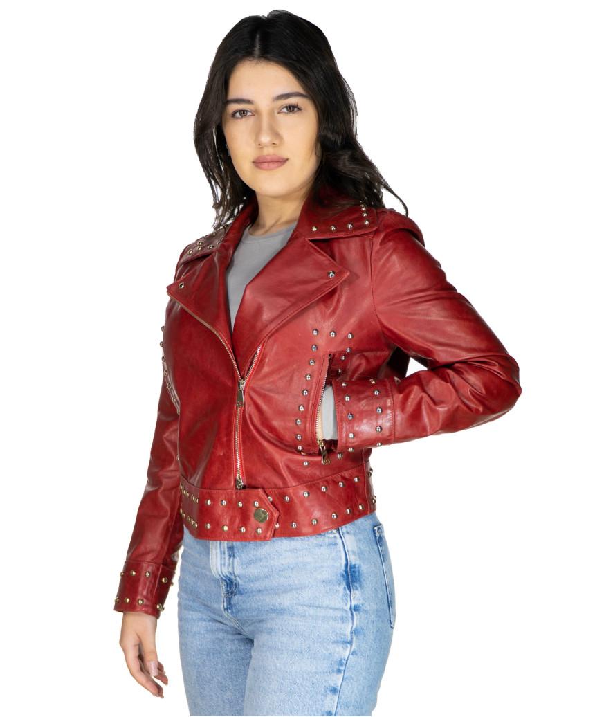 Chiodo Donna - Giacca in Vera Pelle con Cintura colore Nero Morbida - 7