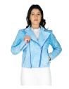 Chiodo Donna - Women Jacket of Genuine Dark Brown Oil Vintage Leather - 4