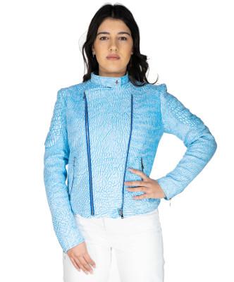 Chiodo Donna - Women Jacket of Genuine Dark Brown Oil Vintage Leather - 6