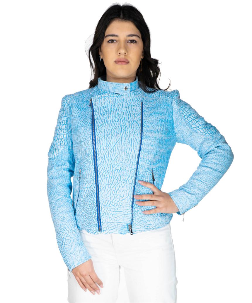 Chiodo Donna - Giacca in Vera Pelle con Cintura colore Testa di Moro Oil Vintage - 6