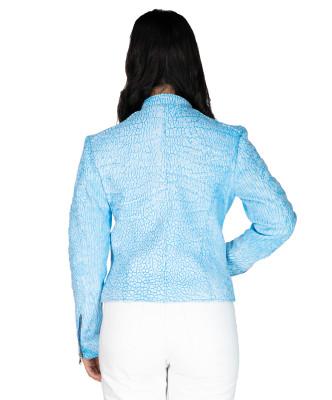 Chiodo Donna - Women Jacket of Genuine Dark Brown Oil Vintage Leather - 7