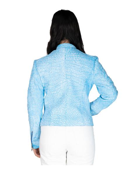 Chiodo Donna - Giacca in Vera Pelle con Cintura colore Testa di Moro Oil Vintage - 7