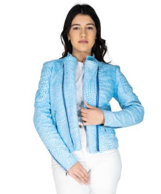 Chiodo Donna - Women Jacket of Genuine Dark Brown Oil Vintage Leather - 8