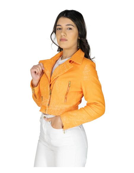 Giulia - Giacca Donna in Vera Pelle colore Cuoio Invecchiato - 1