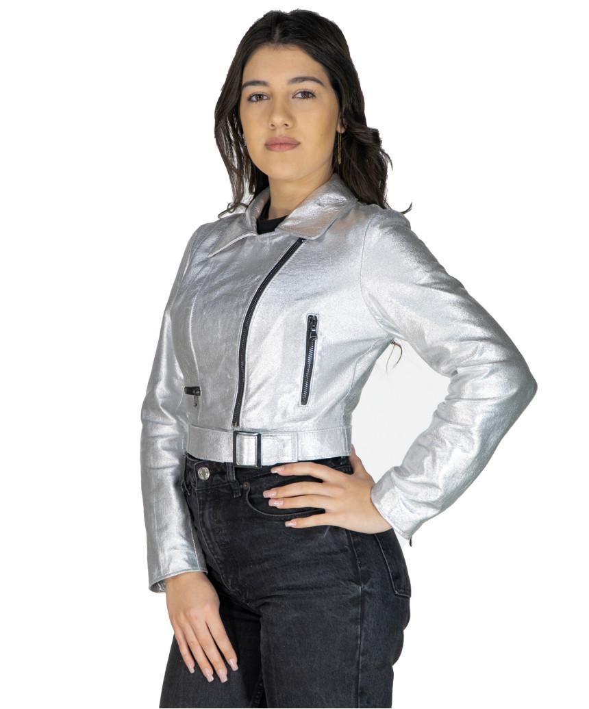 Giulia - Giacca Donna in Vera Pelle colore Cuoio Invecchiato - 4