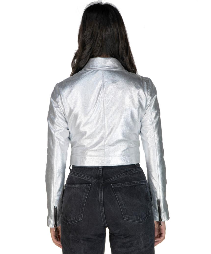 Giulia - Giacca Donna in Vera Pelle colore Cuoio Invecchiato - 5