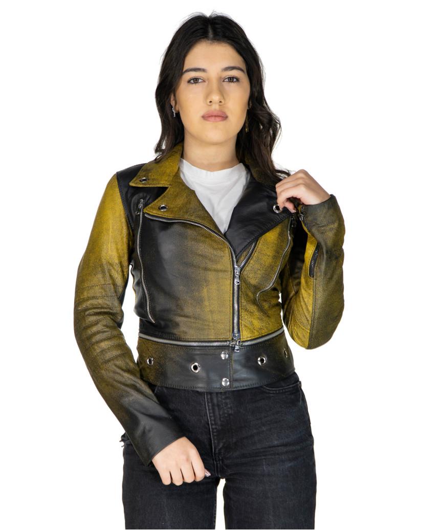 Giulia - Women Jacket of Genuine Soft Dark Brown Oil Vintage Leather - 1
