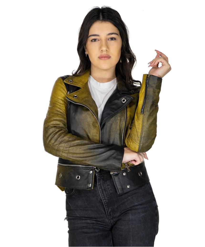 Giulia - Women Jacket of Genuine Soft Dark Brown Oil Vintage Leather - 2