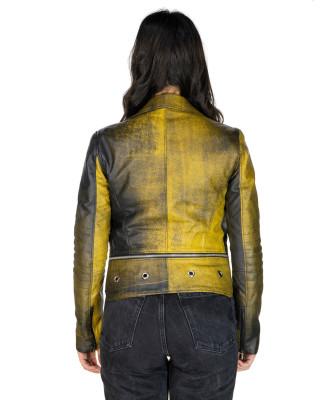 Giulia - Women Jacket of Genuine Soft Dark Brown Oil Vintage Leather - 3