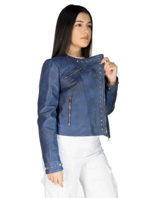 Raff - Women Jacket of Genuine Dark Brown Oil Vintage Leather - 6