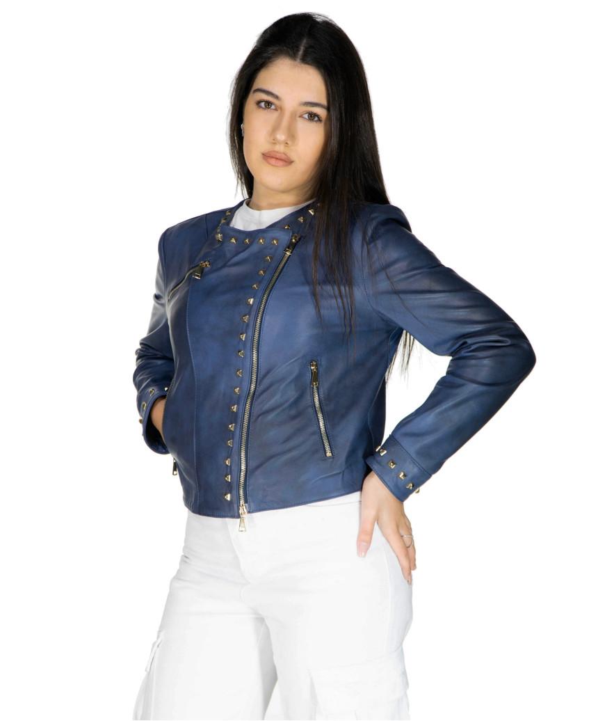 Raff - Women Jacket of Genuine Dark Brown Oil Vintage Leather - 7