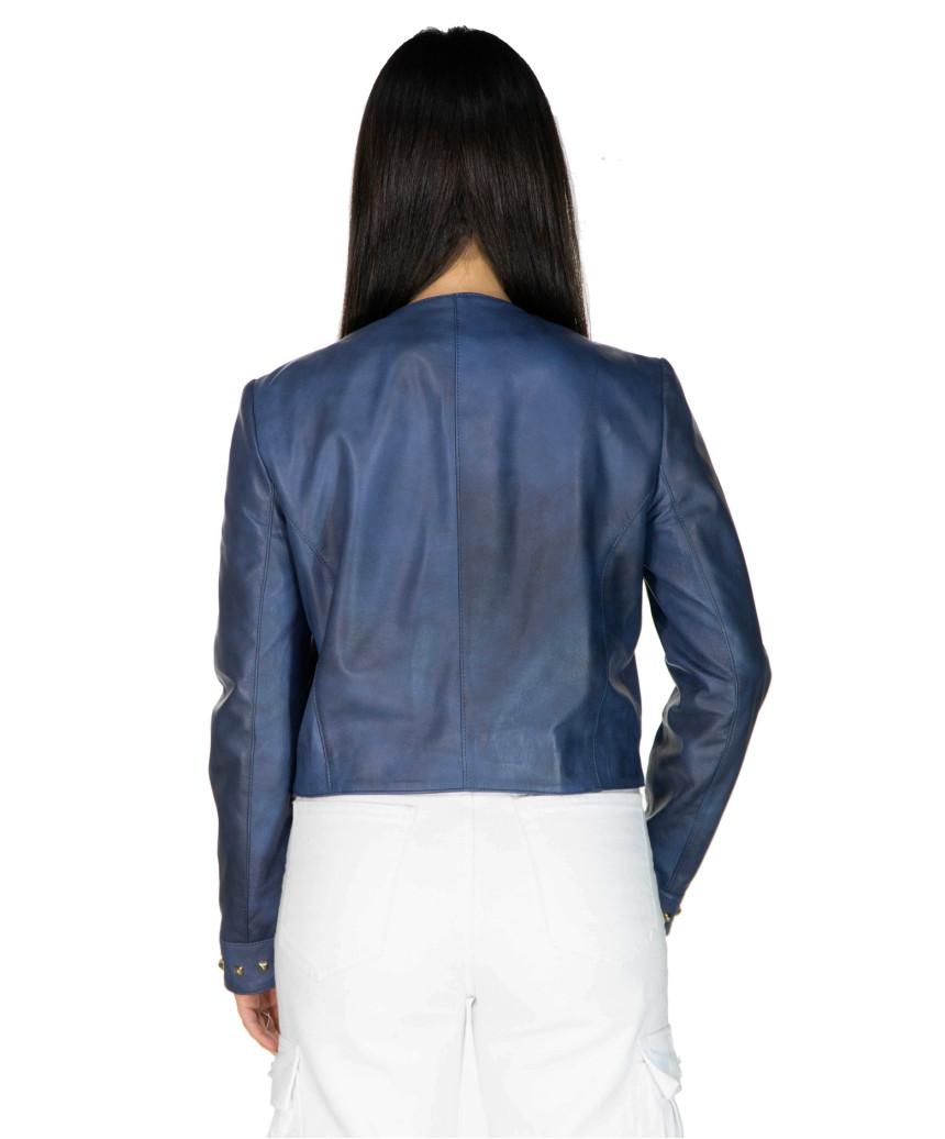 Raff - Women Jacket of Genuine Dark Brown Oil Vintage Leather - 8