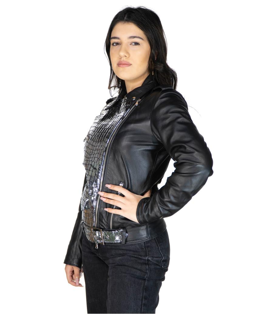 Viola - Giacca Donna in Vera Pelle colore Nero Morbida - 5