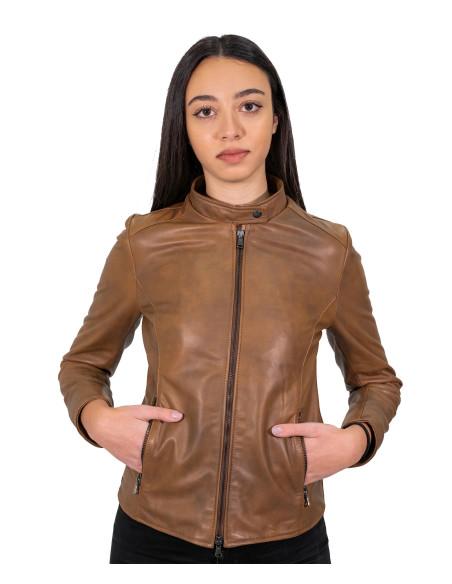 Alba - Giacca Donna in Vera Pelle colore Verde Tamponato - 2
