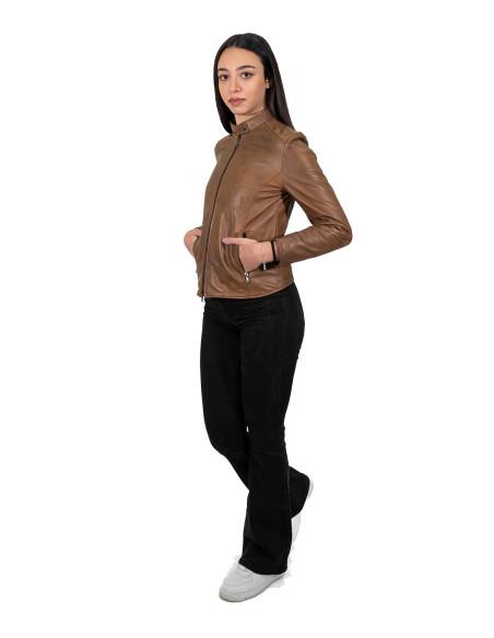 Alba - Giacca Donna in Vera Pelle colore Verde Tamponato - 3