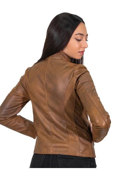 Alba - Giacca Donna in Vera Pelle colore Verde Tamponato - 4