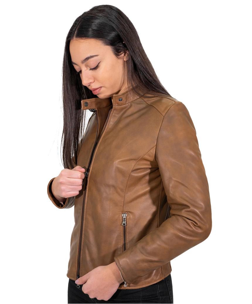 Alba - Giacca Donna in Vera Pelle colore Verde Tamponato - 5