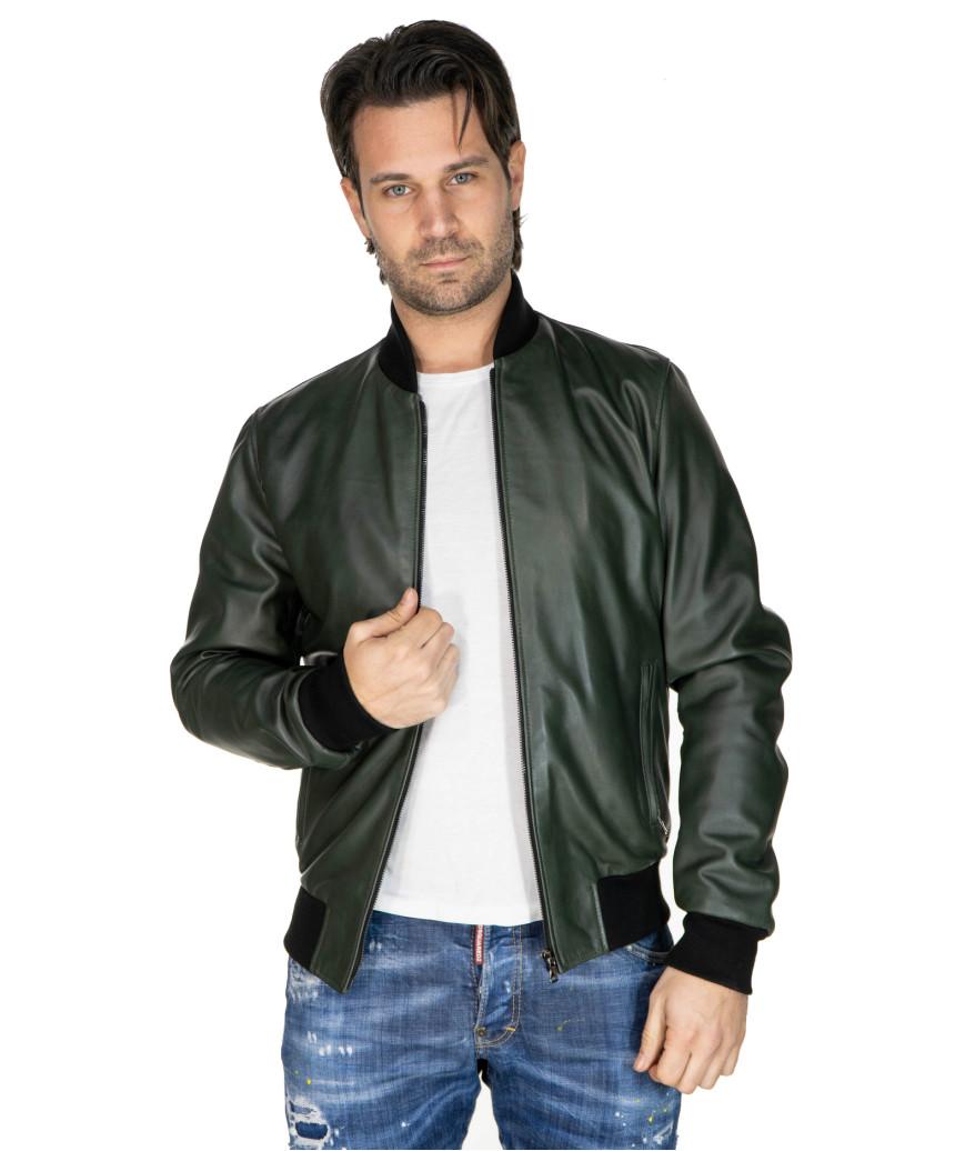 V248 - Genuine Distressed Blue Leather Jacket for Men