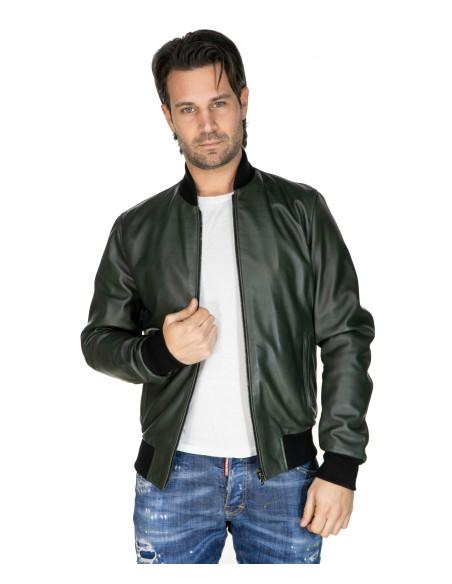 V248 - Men Jacket of Genuine Distressed Blue Leather - 1