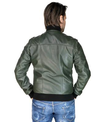 V248 - Men Jacket of Genuine Distressed Blue Leather - 2