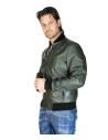 V248 - Men Jacket of Genuine Distressed Blue Leather - 3