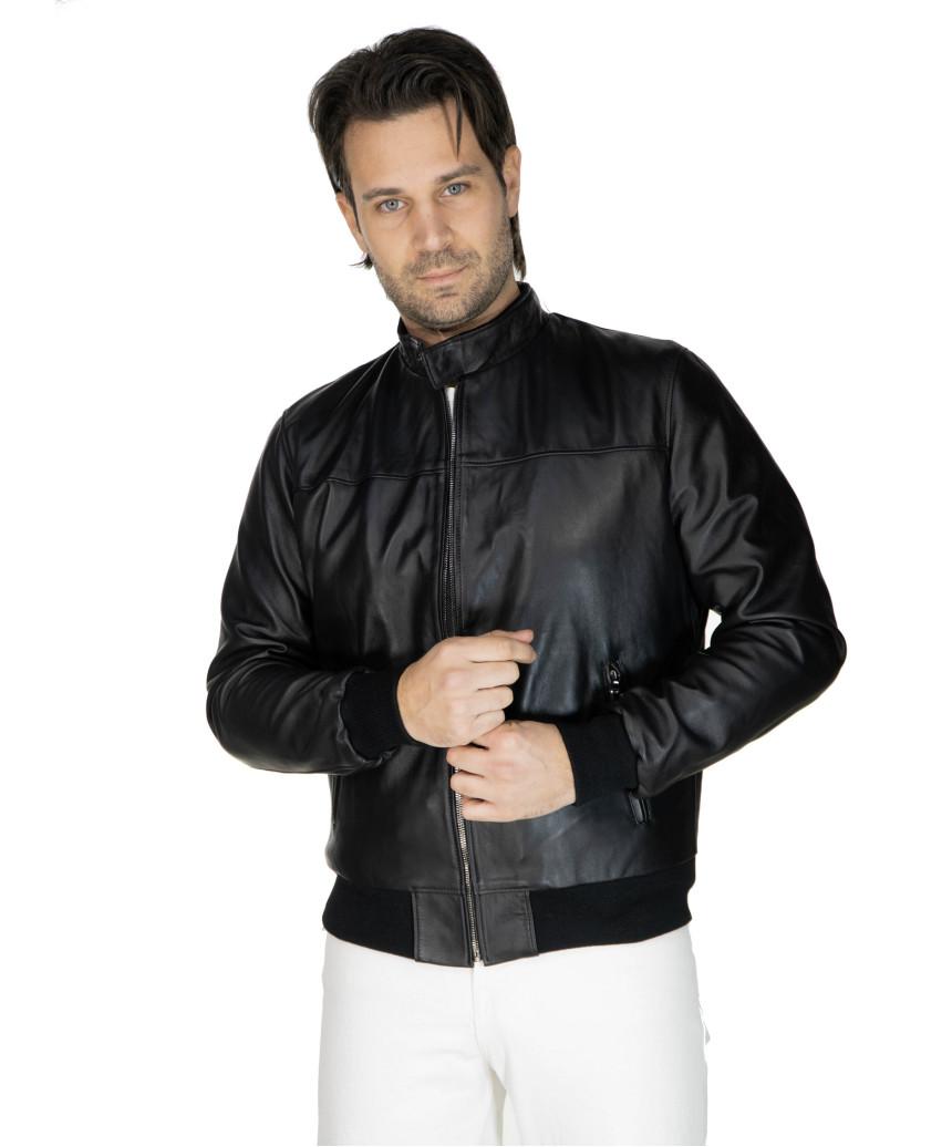 V248 - Men Jacket of Genuine Distressed Blue Leather - 4