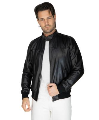 V248 - Men Jacket of Genuine Distressed Blue Leather - 5