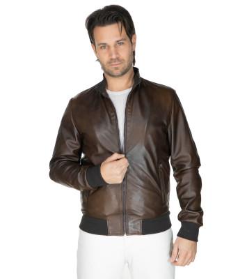 Lasmara - Women Hooded Jacket of Dark Brown Genuine Leather - 1