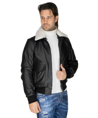 Chiodo Donna - Giacca Borchiata in Vera Pelle con Cintura colore Marrone Morbida