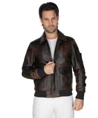 Bomber Napoli - Men's Jacket of Genuine Blue Oil Vintage Leather - 4
