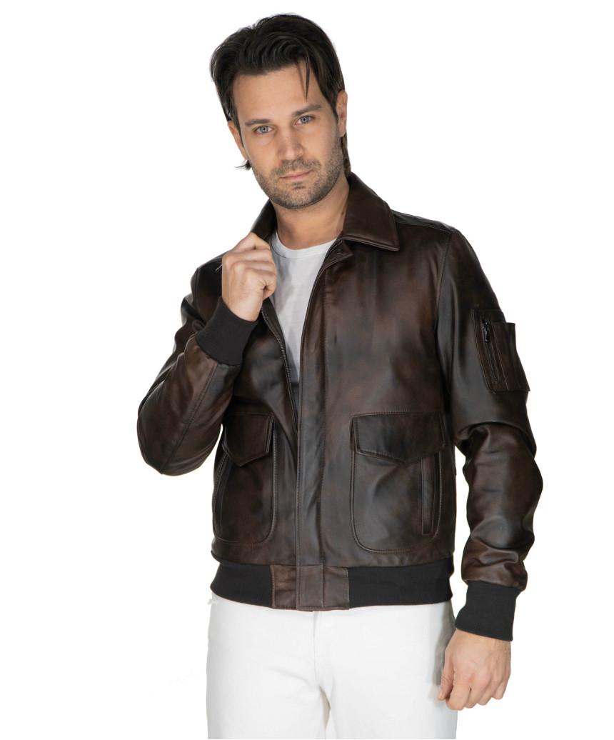 Bomber Napoli - Men's Jacket of Genuine Blue Oil Vintage Leather - 5