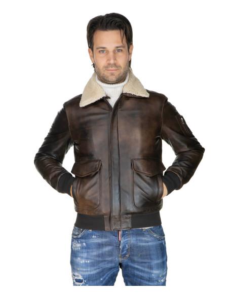 Hamilton - Men Jacket of Genuine Brown Oil Vintage Leather - 1