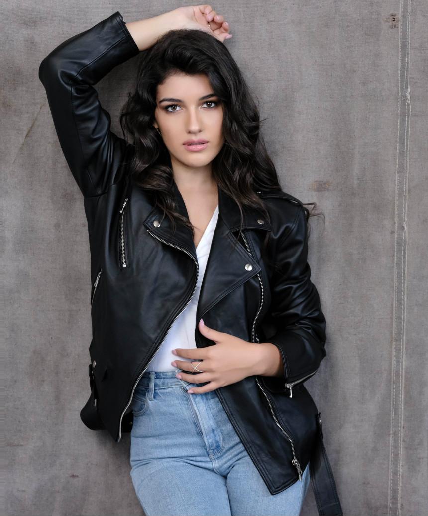 Motociclista Donna - Giacca in Vera Pelle colore Testa di Moro Scamosciato