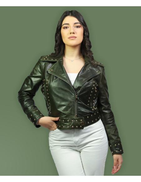 C66 - Giacca Donna in Vera Pelle colore Giallo Tamponato