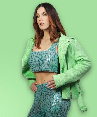 C66 - Women Jacket of Genuine White Distressed Leather - 2