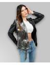 C66 - Women Jacket of Genuine White Distressed Leather - 3