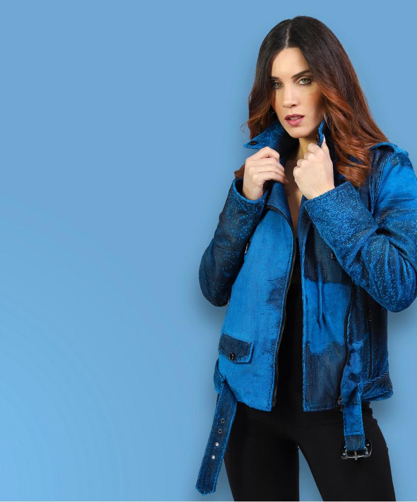 C66 - Women Jacket of Genuine White Distressed Leather - 4
