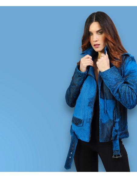 C66 - Giacca Donna in Vera Pelle colore Bianco Tamponato