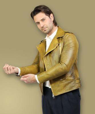 Biker Women - Jacket of Genuine Soft Dark Gray Leather - 2