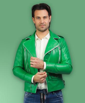 Biker Women - Jacket of Genuine Soft Dark Gray Leather - 4
