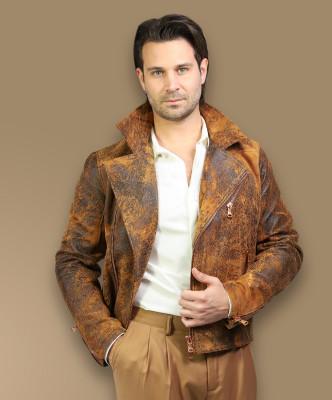 Biker Women - Jacket of Genuine Distressed Bordeaux Leather - 1