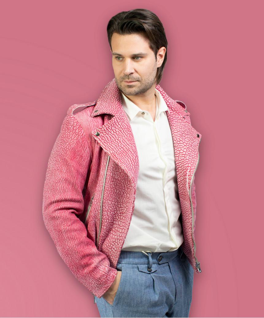 Biker Women - Jacket of Genuine Distressed Bordeaux Leather - 2
