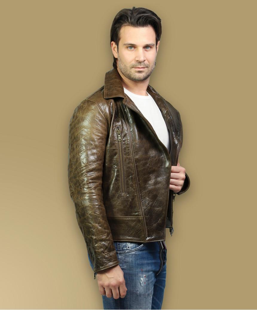 Biker Women - Jacket of Genuine Distressed Bordeaux Leather - 3