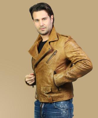 Biker Women - Jacket of Genuine Distressed Bordeaux Leather - 5